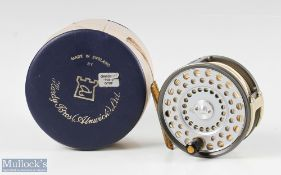 """Hardy Bros England The Husky 3 3/8"""" wide drum alloy fly reel with silent check, ribbed brass foot, U"""
