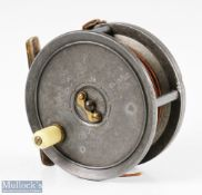 """Walter Dingley 4 ¼"""" retailed by Playfair Aberdeen alloy fly reel stamped D8 internally, strapped rim"""