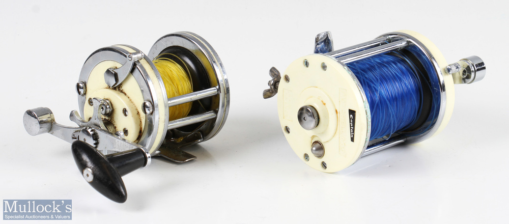 Mitchell 600 multiplier salt water reel with white end plates and chrome construction, with rod - Image 2 of 3