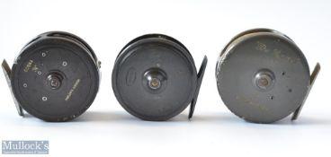 """3x interesting Fly Reels - fine J.J.S. Walker Bampton & Co Makers Alnwick 3.25"""" Uniqua style trout"""