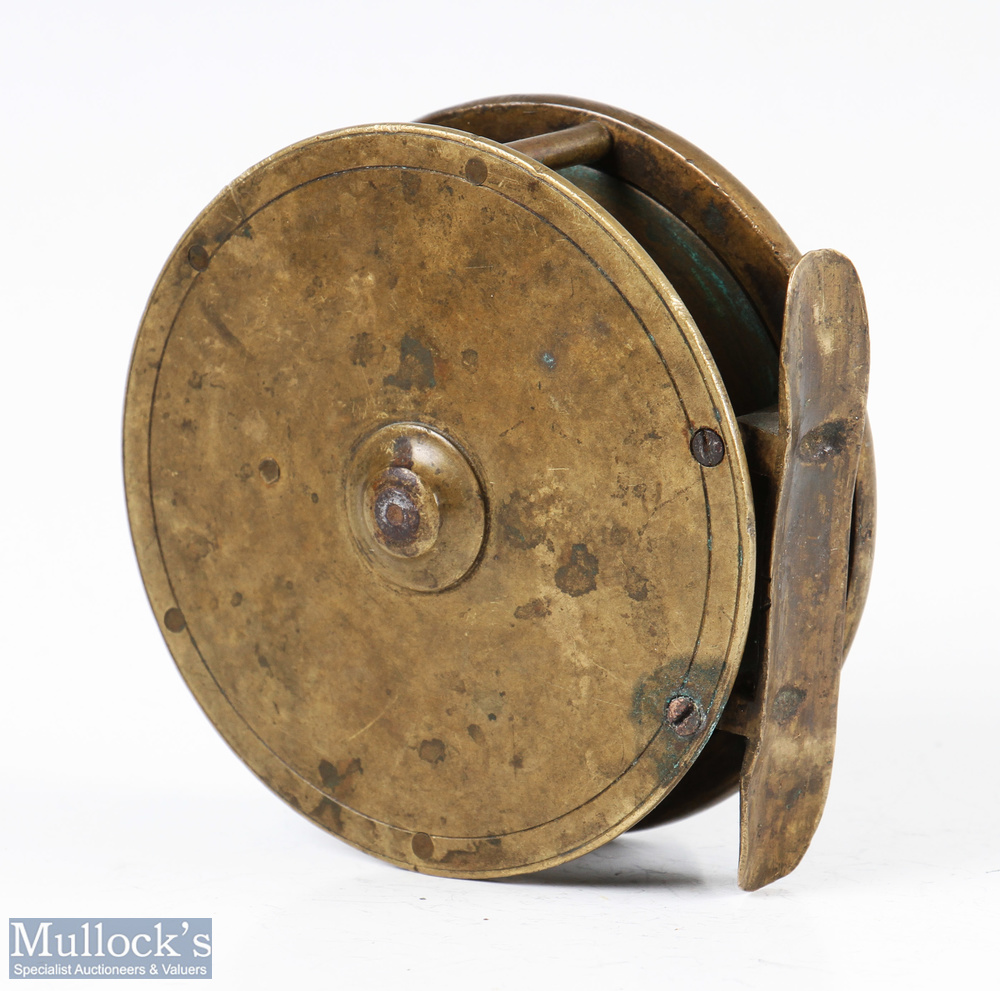 """Struan Patent 3 ½"""" all brass fly reel stamped 'Struan Patent' to dish style faceplate, constant - Image 3 of 3"""