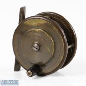 """Eaton & Deller 2 ½"""" brass and ebonite trout fly reel with Eaton & Deller Makers 6&7 crooked Lane"""