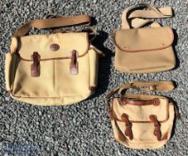3x Canvas and leather Tackle Bags one by Barbour with zip top and zipped front pockets. Brady single