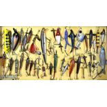 Interesting collection of various fishing lures mounted in a wooden display case (44) – to incl