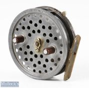 """Hardy Bros England Eureka 3 ½"""" alloy centrepin reel with ribbed brass foot, rim on/off check"""