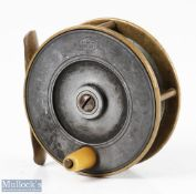 """Struan Patent 3"""" alloy and brass fly reel stamped 'Struan Patent' to faceplate, smooth brass foot,"""