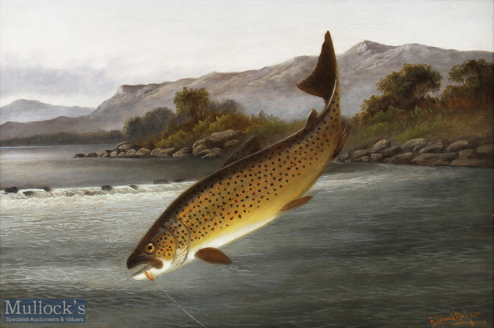 """Knight, A. Roland (1879-1921) oil on canvas titled """"The Leap"""" depicting a Brown Trout caught on - Image 2 of 2"""