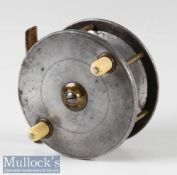 Fine Hardy Bros Alnwick combination fly reel with makers bordered oval logo, stamped Hardy's Pat