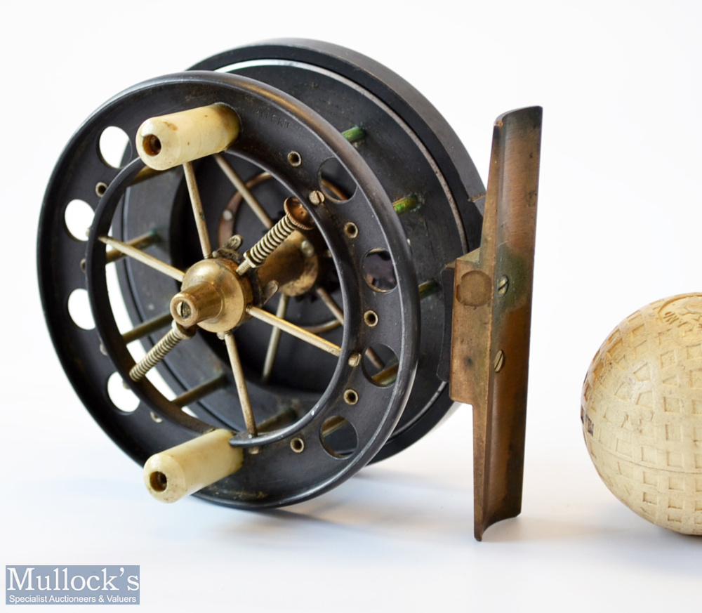 """Rare Allcocks Aerial 3"""" black lead alloy centre pin reel c1915/16 – stamped Patent to front drum"""
