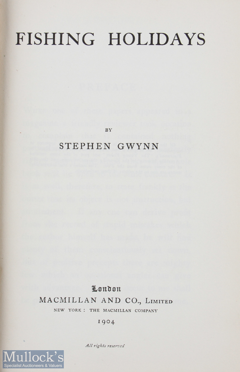 """Gwynn, Stephen – """"Fishing Holidays"""" 1904 1st edition, published by Macmillan & Co, London, in - Image 2 of 2"""