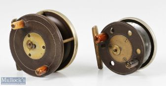 """2x Slater pattern ebonite combination reels featuring a 3 ½"""" ebonite and brass fly reel having an"""