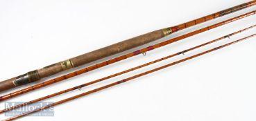 Hardy Bros Alnwick salmon rod with extra top (slightly bent), engraved K Corbet Reg No. A52166