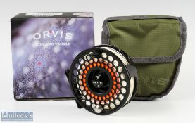 Orvis Access V mid arbour fly reel in black finish, counter weight, appears unused, with maker's