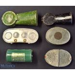 Collection of various fishing maggot bait tins (6) – to incl 2x early japanned gentle shoots, 2x