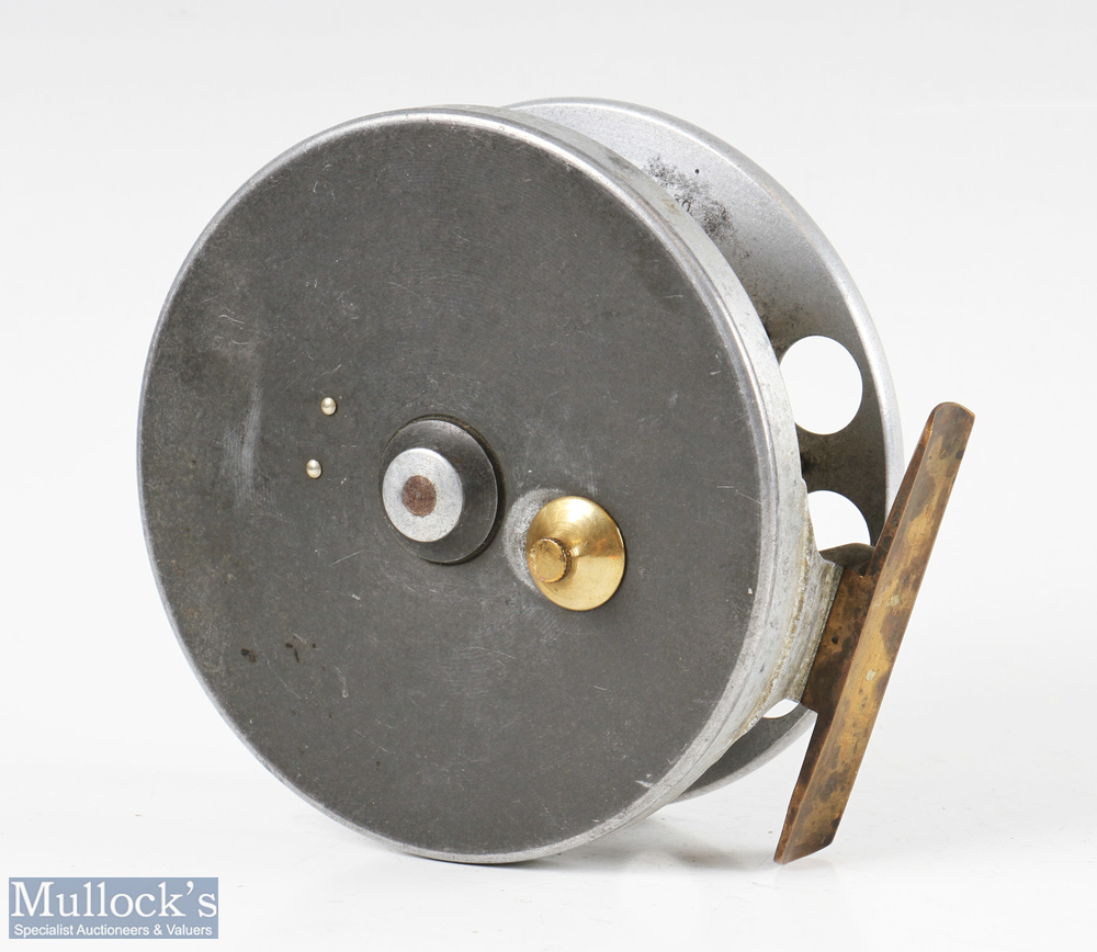 "Rare S Allcock & Co 4 ½"" Aerial aluminium and ebonite centrepin reel c1910-1914 with ventilated - Image 2 of 2"