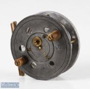 """Slater 3"""" alloy centrepin casting reel with twin horn handles, brass full annular line guard,"""