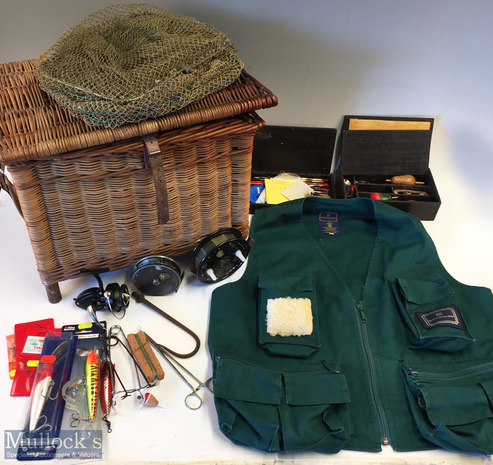 Fishing Tackle Basket with reels, and accessories – the basket measuring 42x34x30cm approx., with