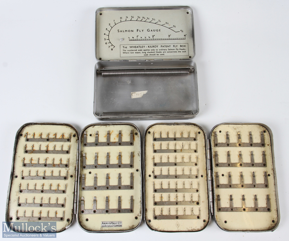 3x Wheatley Alloy Fly Boxes – incl Kilroy patent fly box, and 2 leaf clip boxes, one having Army & - Image 2 of 2