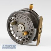 """Hardy Bros Alnwick Silex No 2, alloy 4"""" casting reel with factory quarter rim removed, twin"""