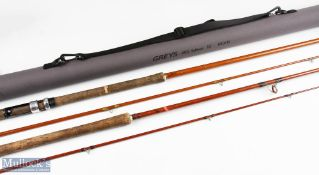 Jack Braithwaite 1956 Salmon Spinning Rod 10ft 2pc in a Grey's cordura tube 5ft 5ins, well used; and