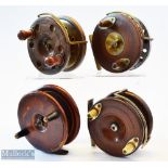 """Interesting collection of Wooden Nottingham and brass back combination reels (4) – 4"""" wooden and"""