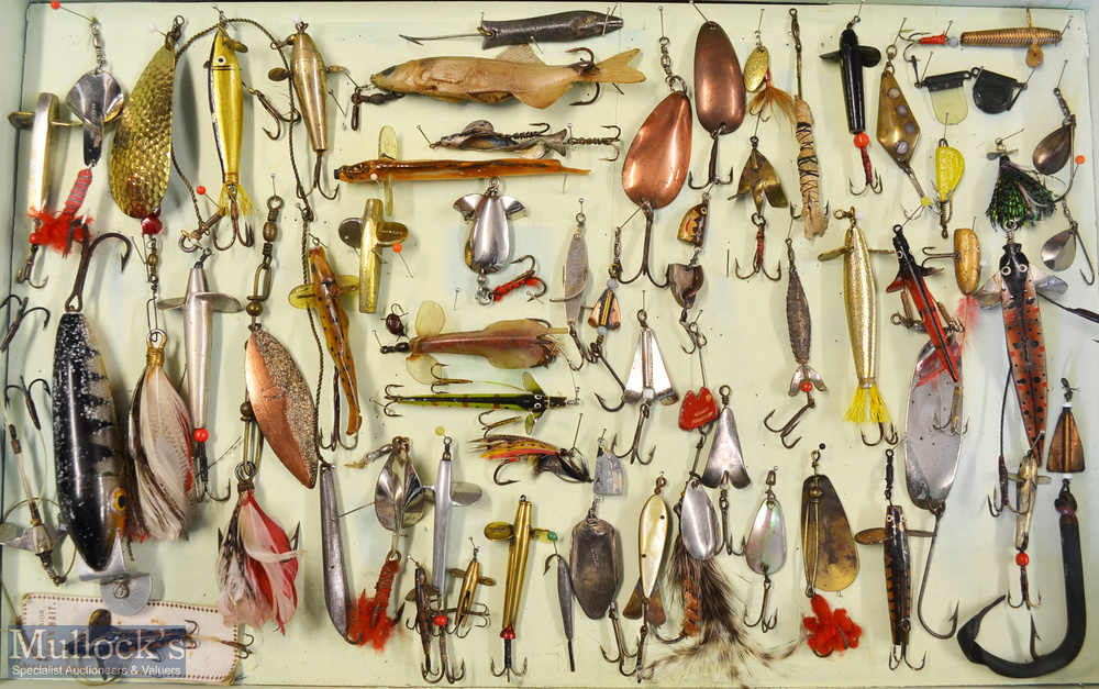 Interesting collection of various fishing lures (65) mounted in a wooden display case. Makers incl W