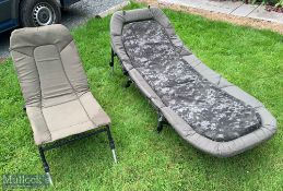 Nash Fishing Bed Chair and JRC Recliner Chair with Nash cushion and metal legs