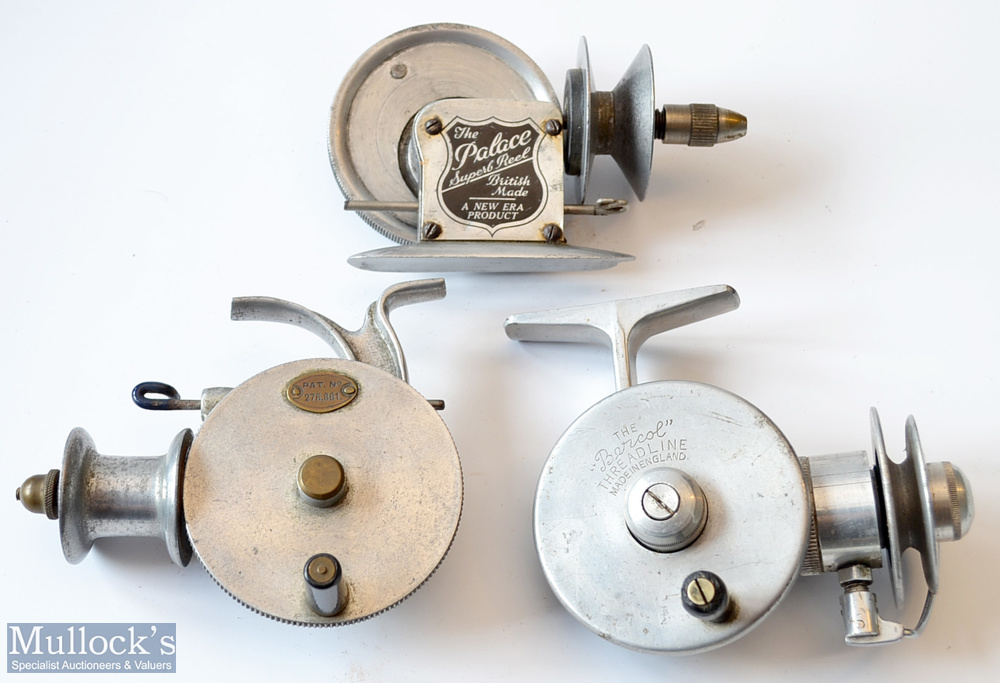 3x interesting Alloy Friction Threadline Reels – Very early Allcocks Patent No 276861 alloy reel - Image 2 of 2
