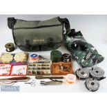 Wychwood Fishing Tackle Bag and Accessories containing 3 Ryobi fly reels, line, winders, 3 fly boxes