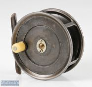 """Fine Hardy Bros Alnwick Uniqua 4 ½"""" Salmon alloy fly reel with smooth brass foot, oval latch, 1910"""