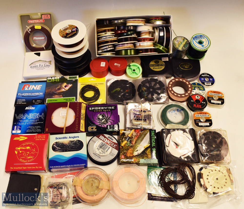 Assorted selection of Fishing line and casts some in packets with Berkley Vanish, Pline,
