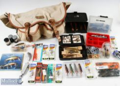Hardy, Alnwick Canvas and Leather Fishing Tackle Bag with Fishing Accessories bag having 2 front