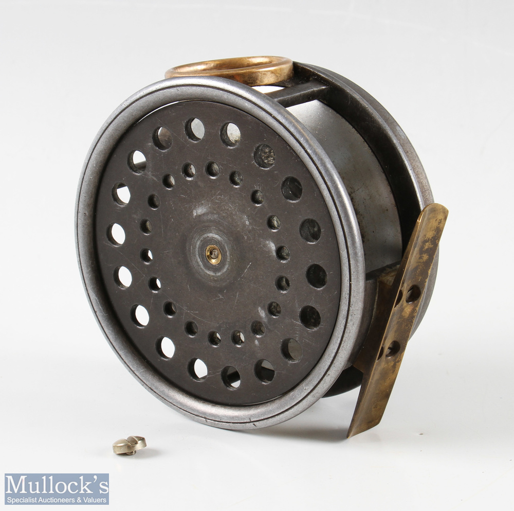 """J Dickson and Son Edinburgh 4"""" salmon alloy fly reel with brass O line guide, constant check, smooth"""