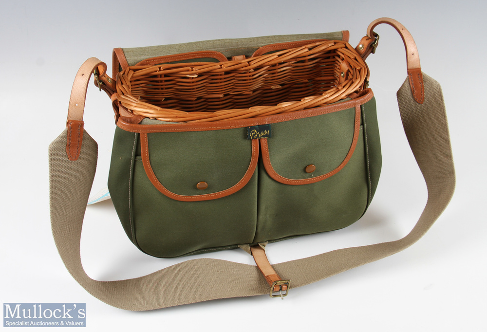 Brady Conway Fishing Creel Bag – willow basket with canvas bag front having 2 pockets and over flap, - Image 2 of 2