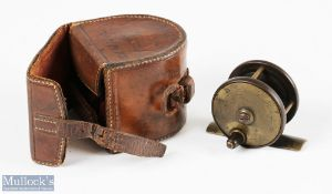 """C Farlow & Co 121 Strand London c1895, 2"""" ebonite and brass trout fly reel and leather case in the"""