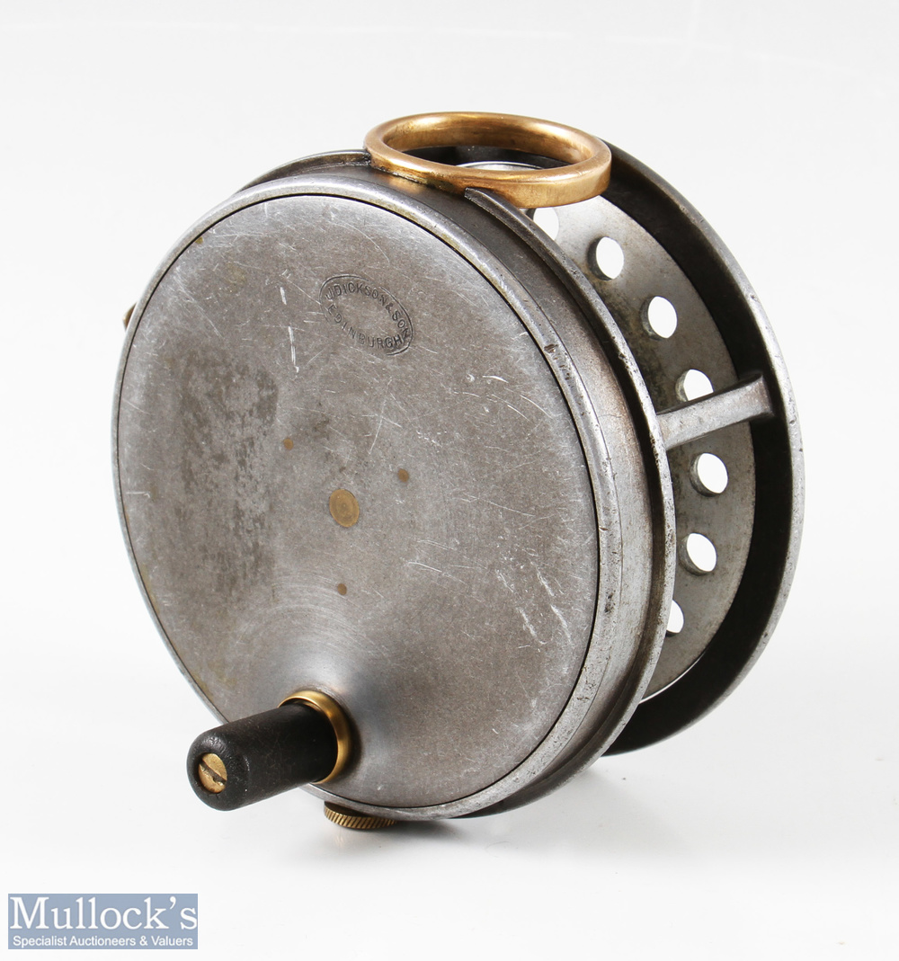 """J Dickson and Son Edinburgh 4"""" salmon alloy fly reel with brass O line guide, constant check, smooth - Image 2 of 2"""