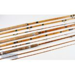 Martin James Greaves 10ft 6in split cane fly rod 3pc with shortened tip by 5in, plus 2x Spanish Reed