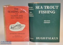 """2x Seat Trout Fishing Books – Crossley, Anthony """"The Floating Line for Salmon and Sea-Trout""""1948 3rd"""