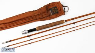 Hardy Bros 'The Double' built De-Luxe split cane fly rod 10ft 3pc, plus spare top, in MCB