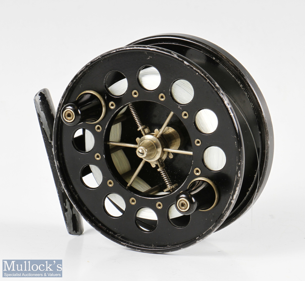 """Allcocks Redditch Aerial 3 3/4"""" centrepin reel width 1 ½"""" total, perforated face, in black finish,"""
