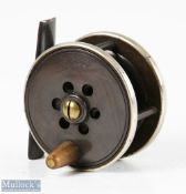 """Prickman of Exeter brass and ebonite 2 3/8"""" trout fly reel with horn handle, German nickel silver"""