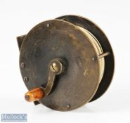 """Early 3 ½"""" A Allan Glasgow all brass narrow drum fly reel with curved crank arm, maker's mark to"""