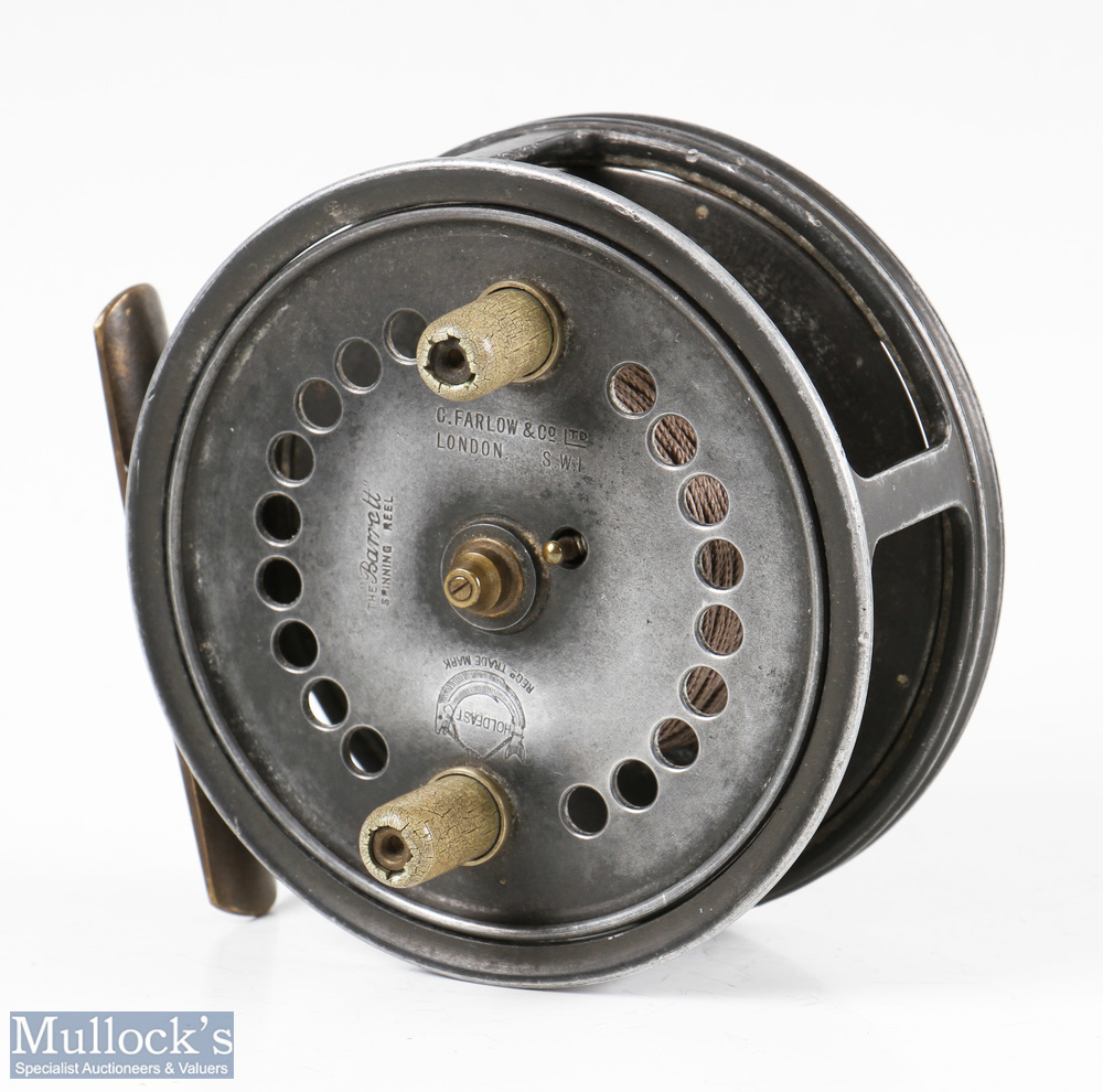 """C Farlow & Co London 'The Barrett Spinning Reel' 4"""" alloy drum reel with Holdfast Logo, four"""