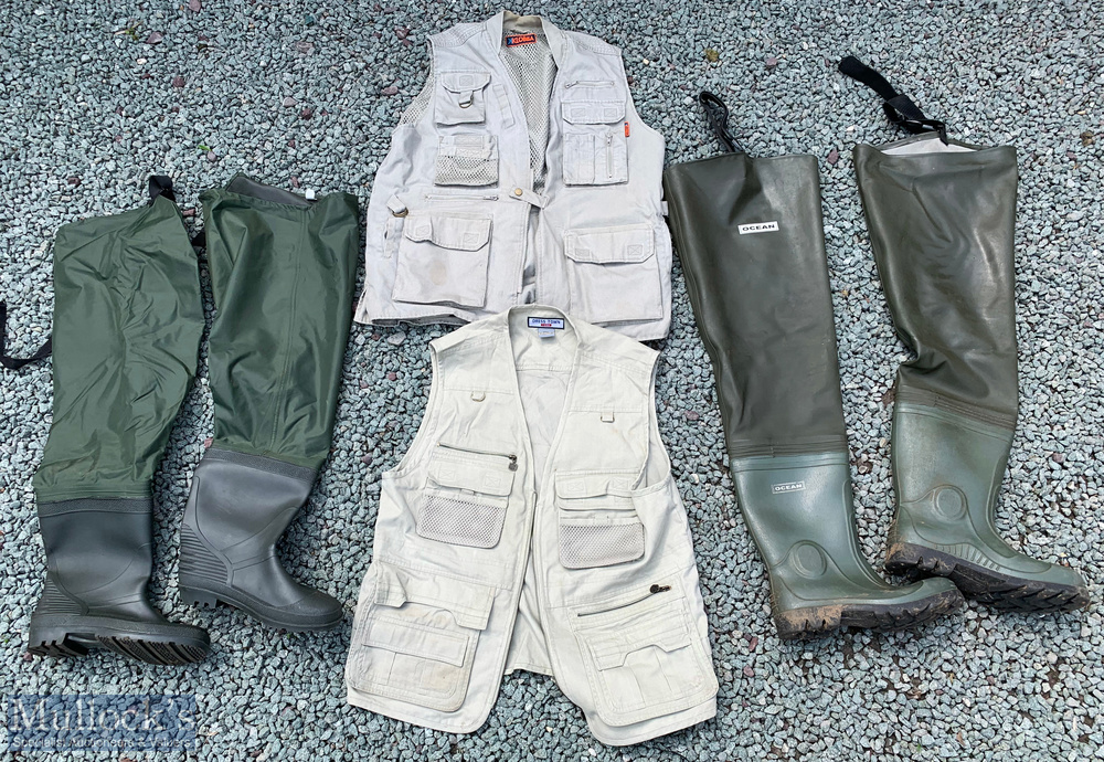 Fishing Waders and Vests – pair of Ocean waders, size 10, with another unnamed pair size 9, Dress