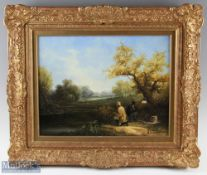 H. Wheeler Signed '19th Century Fishing Scene' Oil painting in decorative frame depicts two