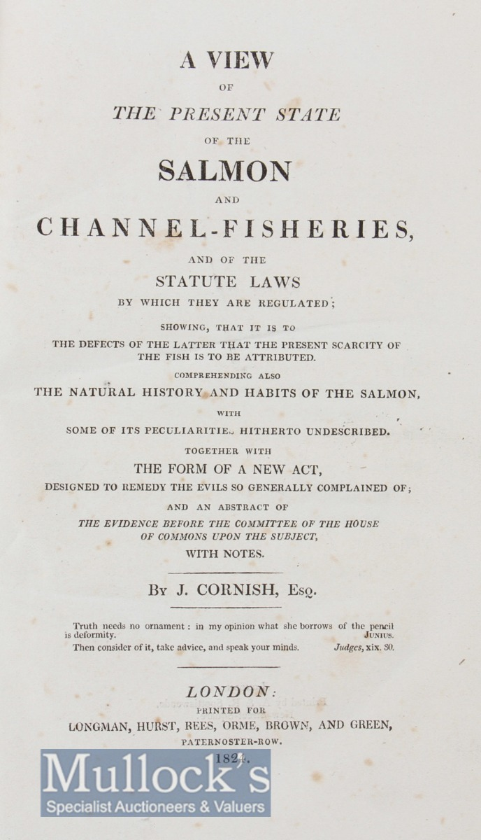 """Early 19th c Fishing Book on The Salmon: Cornish, John Esq - """"A View of The Present State of The - Image 2 of 2"""