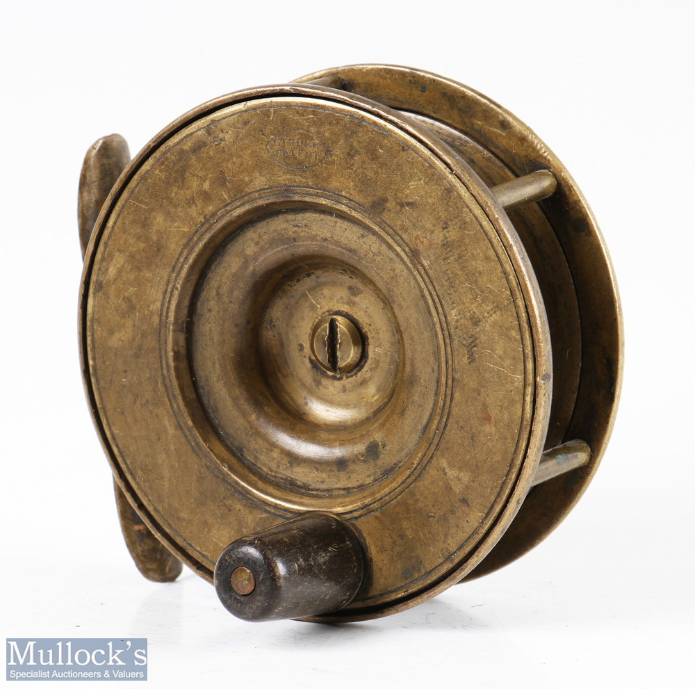 """Struan Patent 3 ½"""" all brass fly reel stamped 'Struan Patent' to dish style faceplate, constant - Image 2 of 3"""