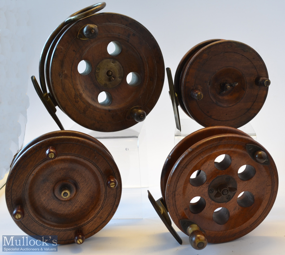 """Collection of Scarborough and other Wooden and brass reels (4) unnamed modified 6"""" Scarborough"""