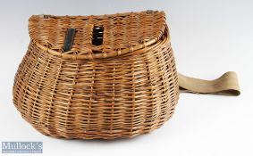Large Pot Belly Wicker Fishing Creel with centre slot complete with period leather and canvas