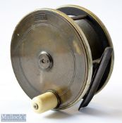 """W J Cummins Maker, Bishop Auckland 4.75"""" brass and ebonite combination trolling reel – with nickel"""